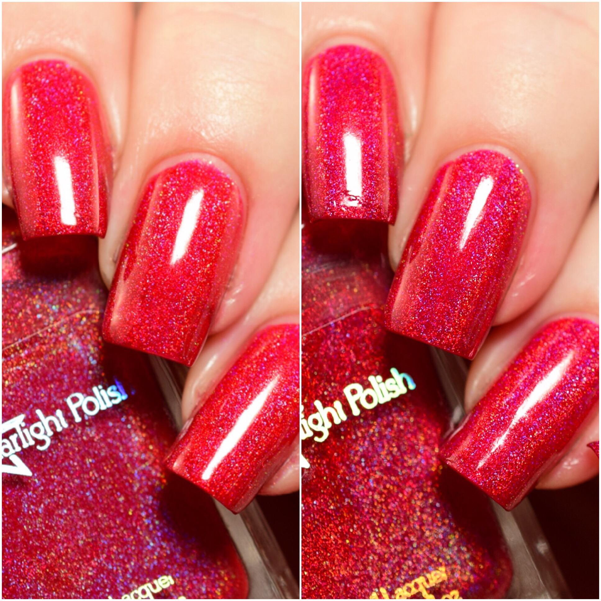 Starlight Polish Holly Berry vs Poinsettia
