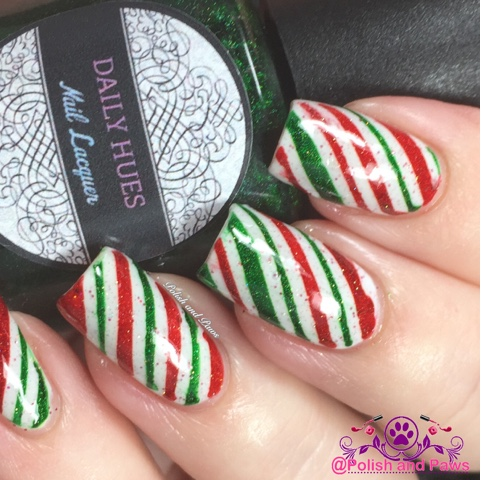 Nail art candy cane nails polish and paws and the macro shot of this mani other than a wonky stripe or two i think this turned out great but thats okay nobody is perfect prinsesfo Choice Image