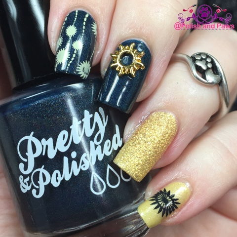 I then chose a couple images from UberChic plate #3-02 that I felt really  complimented the sun charm. For the stamping I didn't have a navy blue MdU,  ... - Nail Art: Sun Nail Charms From Honey Bunny Lacquer Polish And Paws
