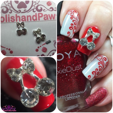 Nail Art: Cherry Nail Charms from Honey Bunny Lacquer   Polish and Paws