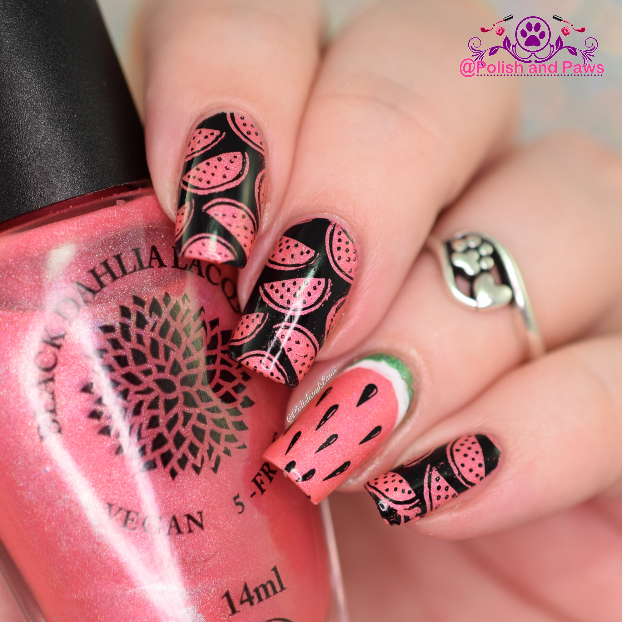 Watermelon Nail Art Black Dahlia Lacquer