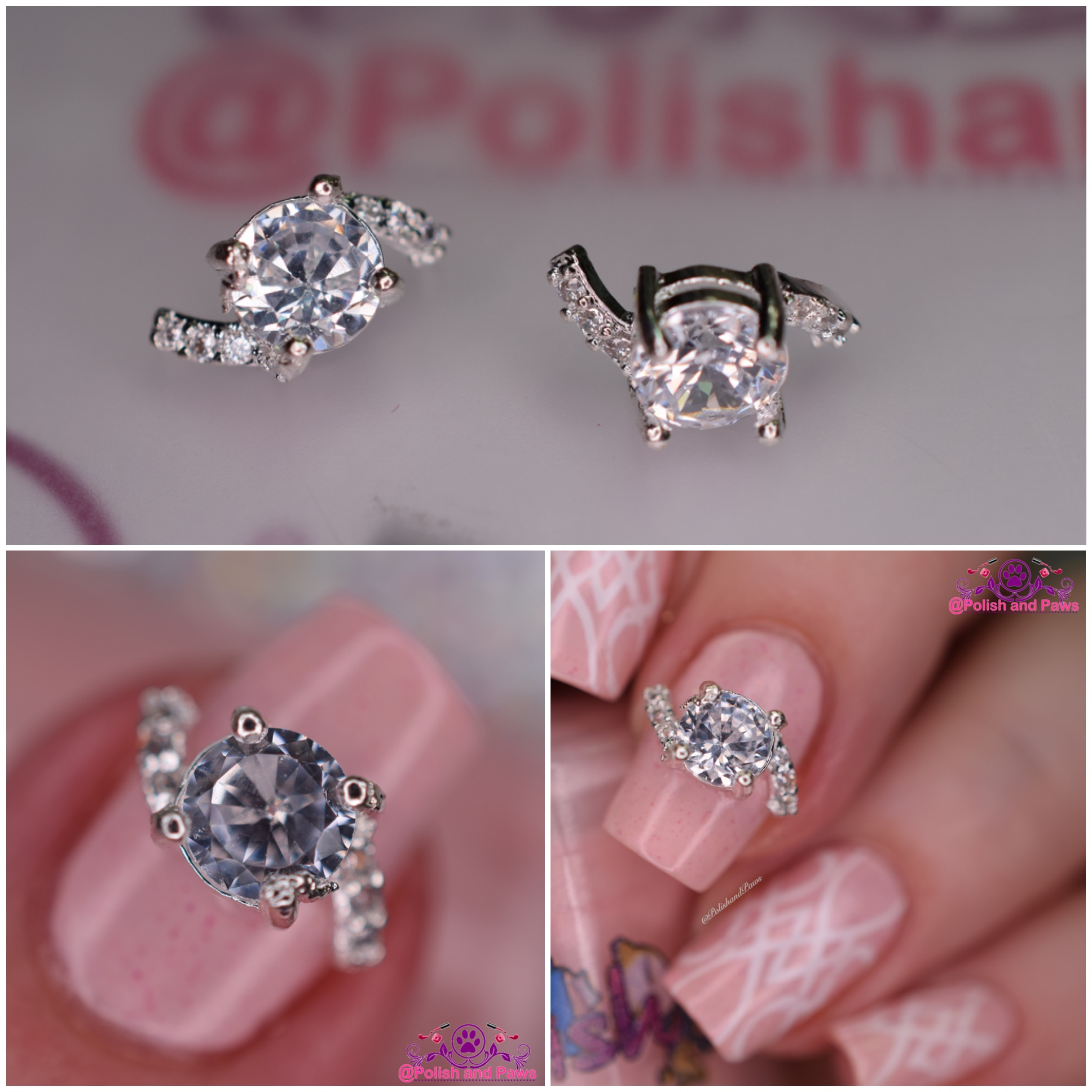 Nail Art ~ Silver Rhinestone Ring Nail Decoration | Polish and Paws