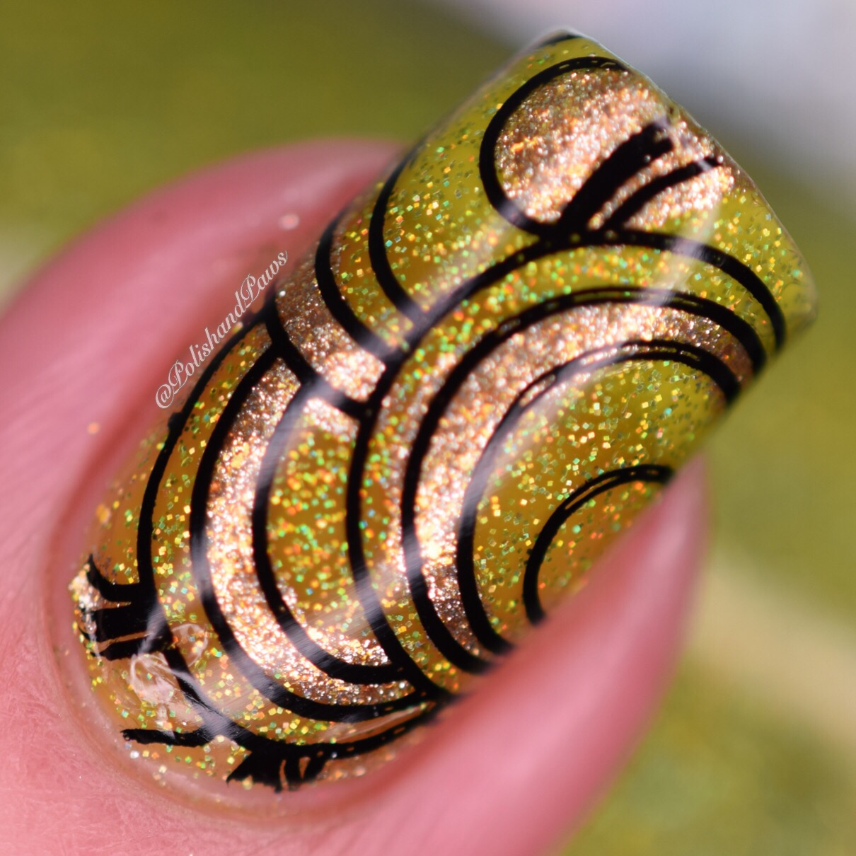 lime green and gold macro