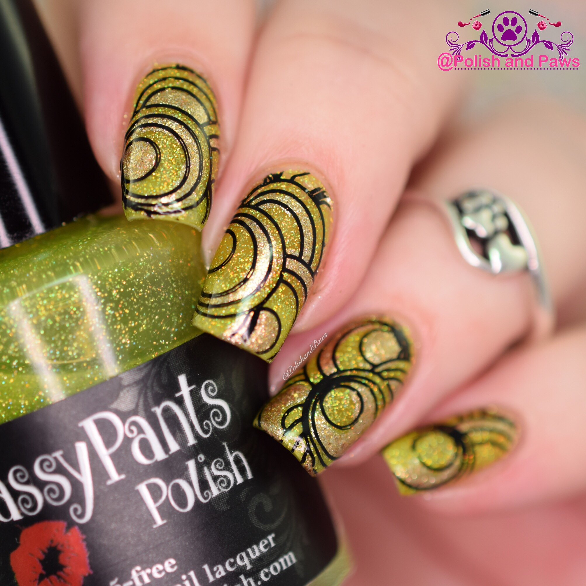 lime green and gold mani