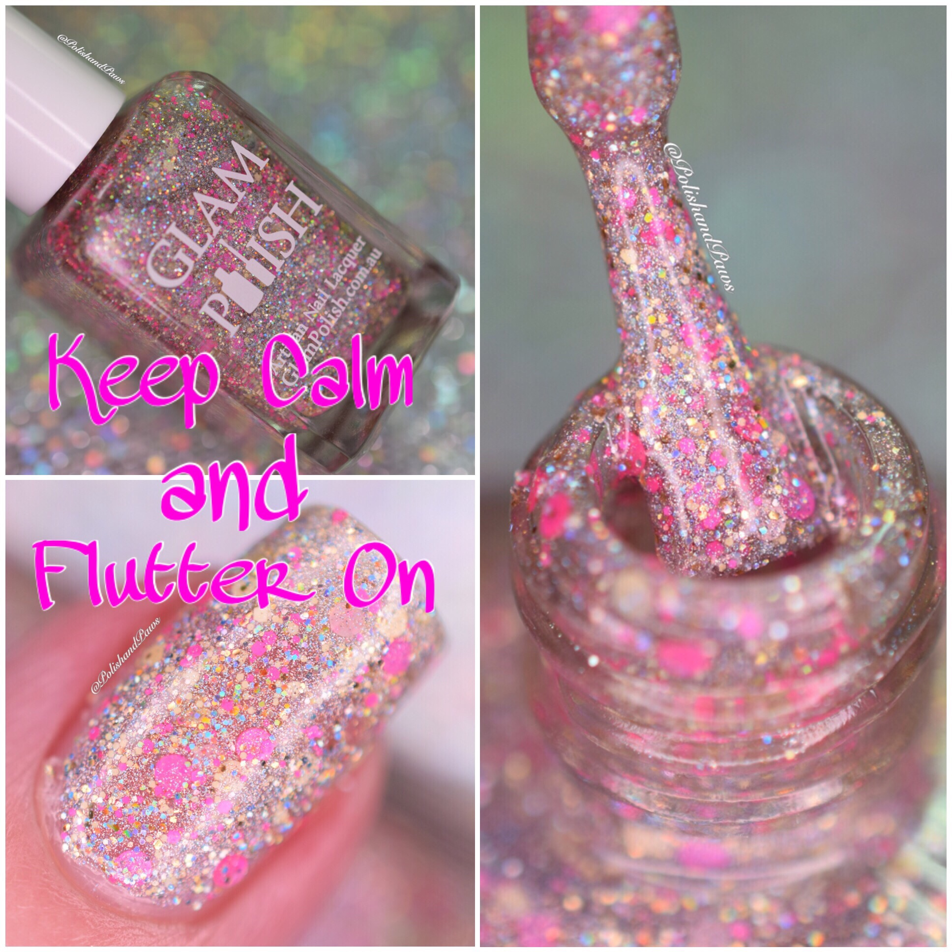Glam Polish Keep Calm and Flutter On collage