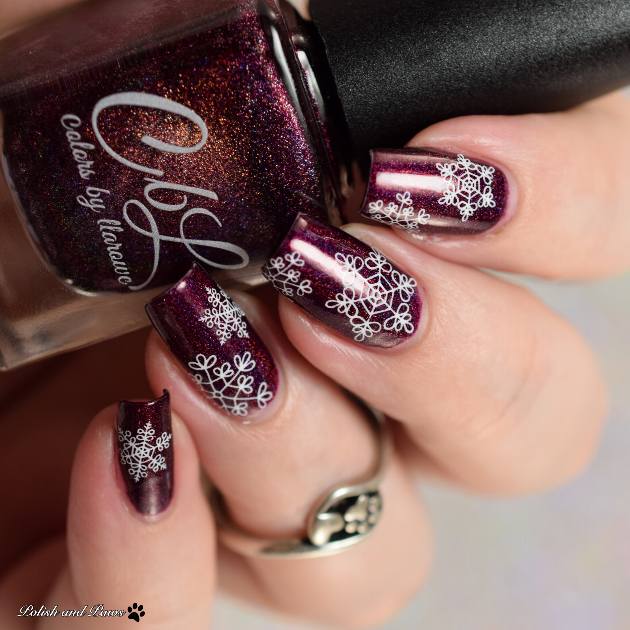 MILV Snowflake Water Decals over CbL Berries in the Snow
