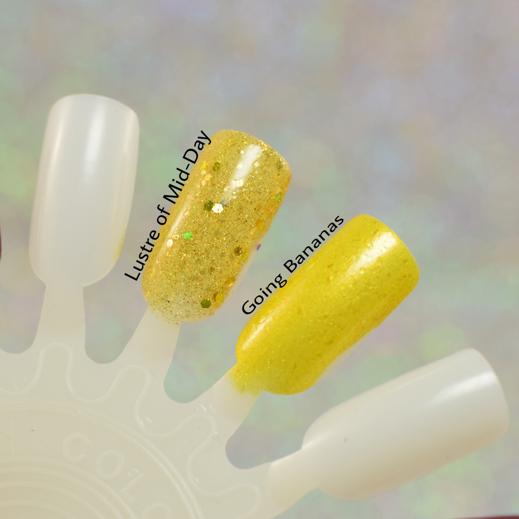Sassy Pants Polish Lustre of Mid-Day Going Bananas Comparison