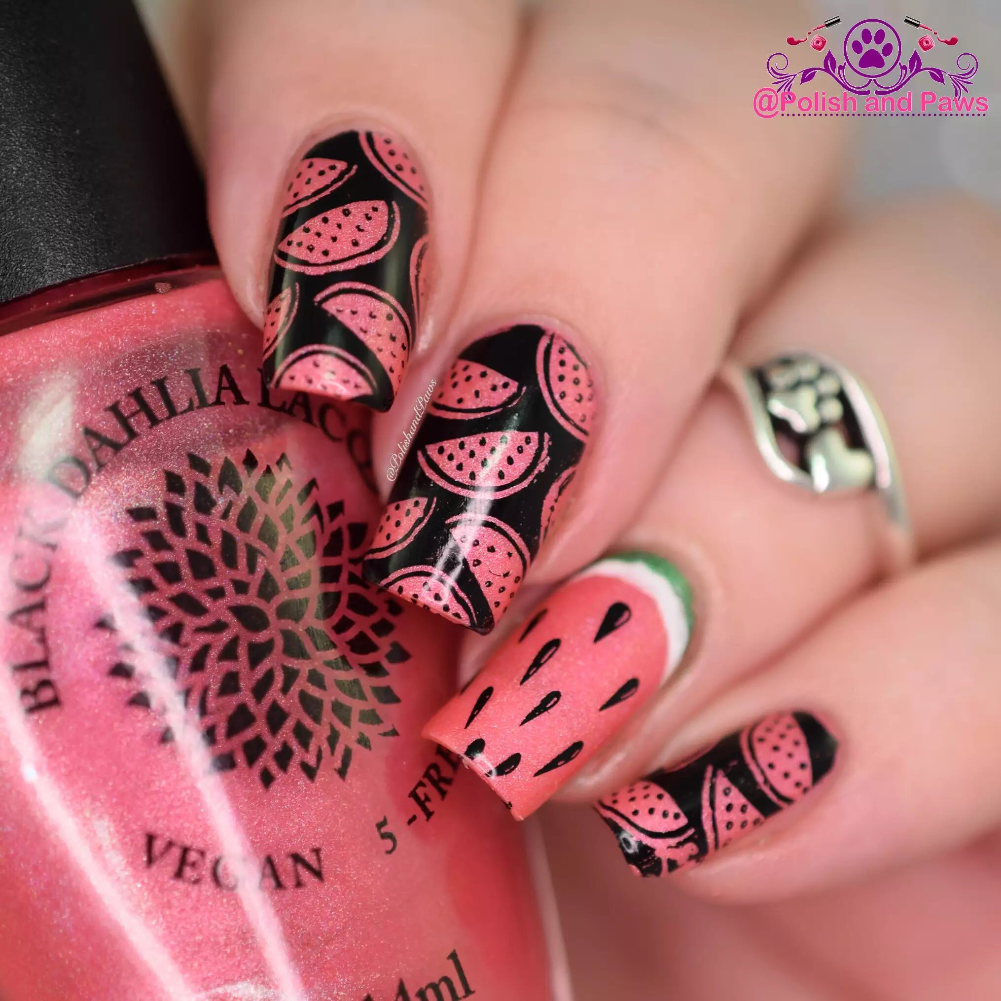 Watermelon Nail Art by PolishandPaws