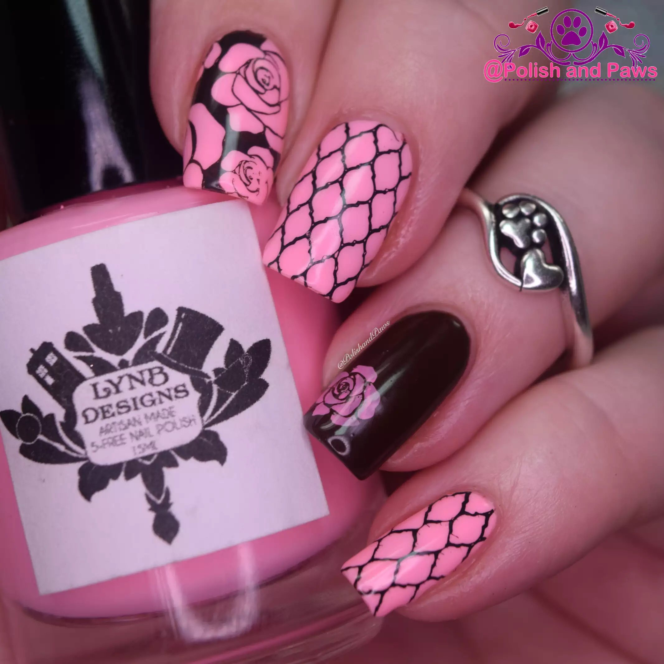 Pink and Brown Roses Nail Art by PolishandPaws
