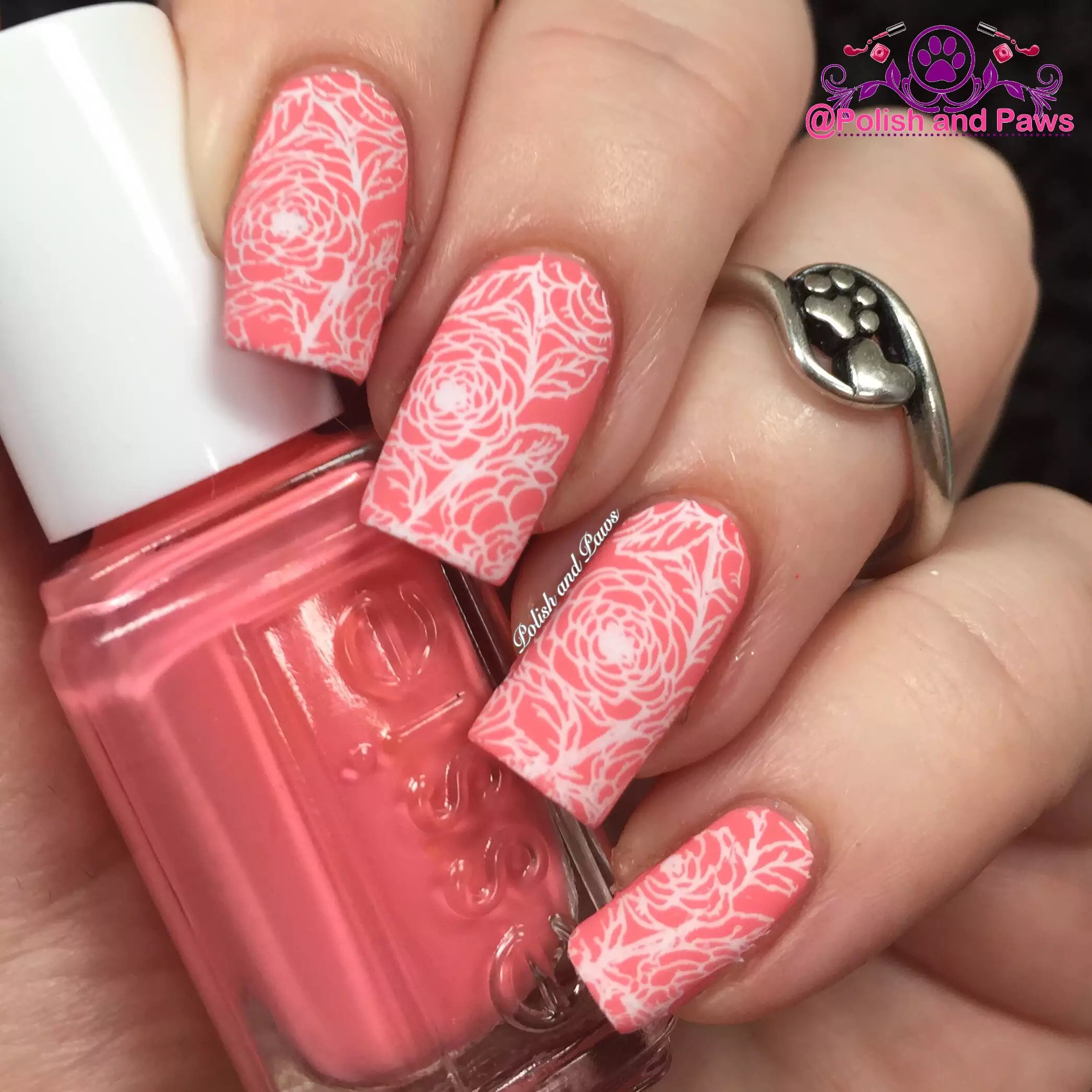Coral Matte Roses Nail Art by PolishandPaws