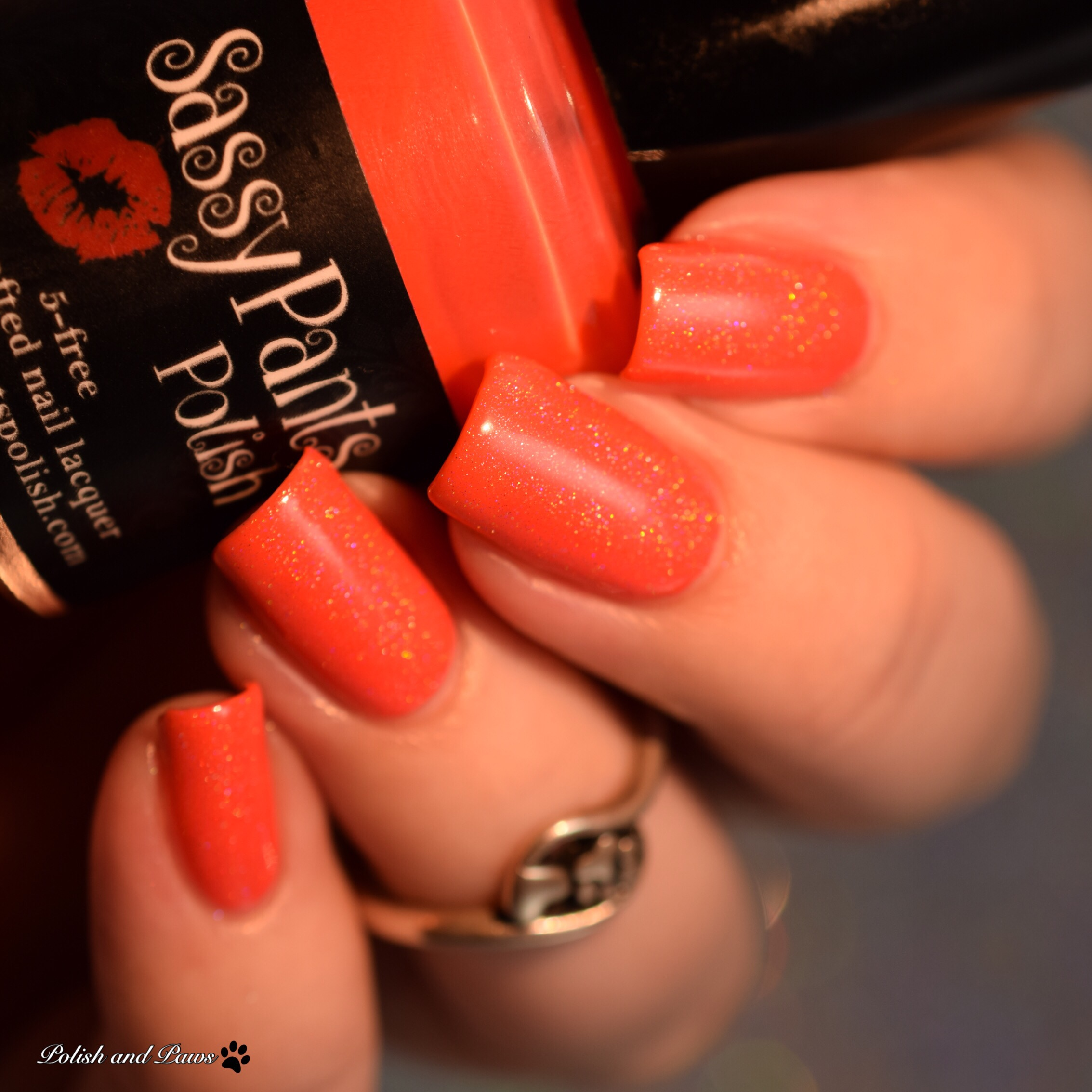 Sassy Pants Polish Love Always layered over Kiss Goodbye