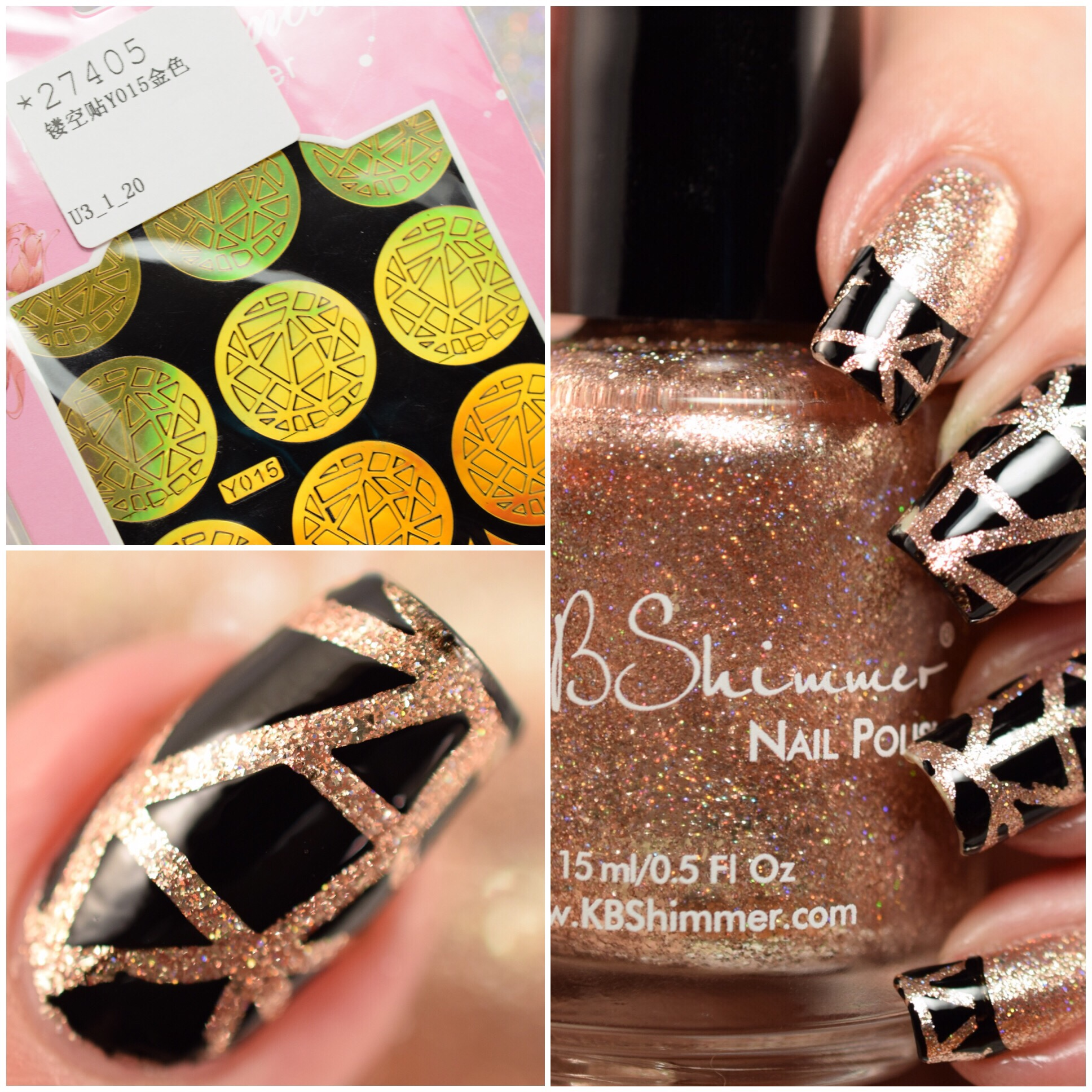 KBShimmer One Night Sand with Born Pretty Store Nail Vinyls