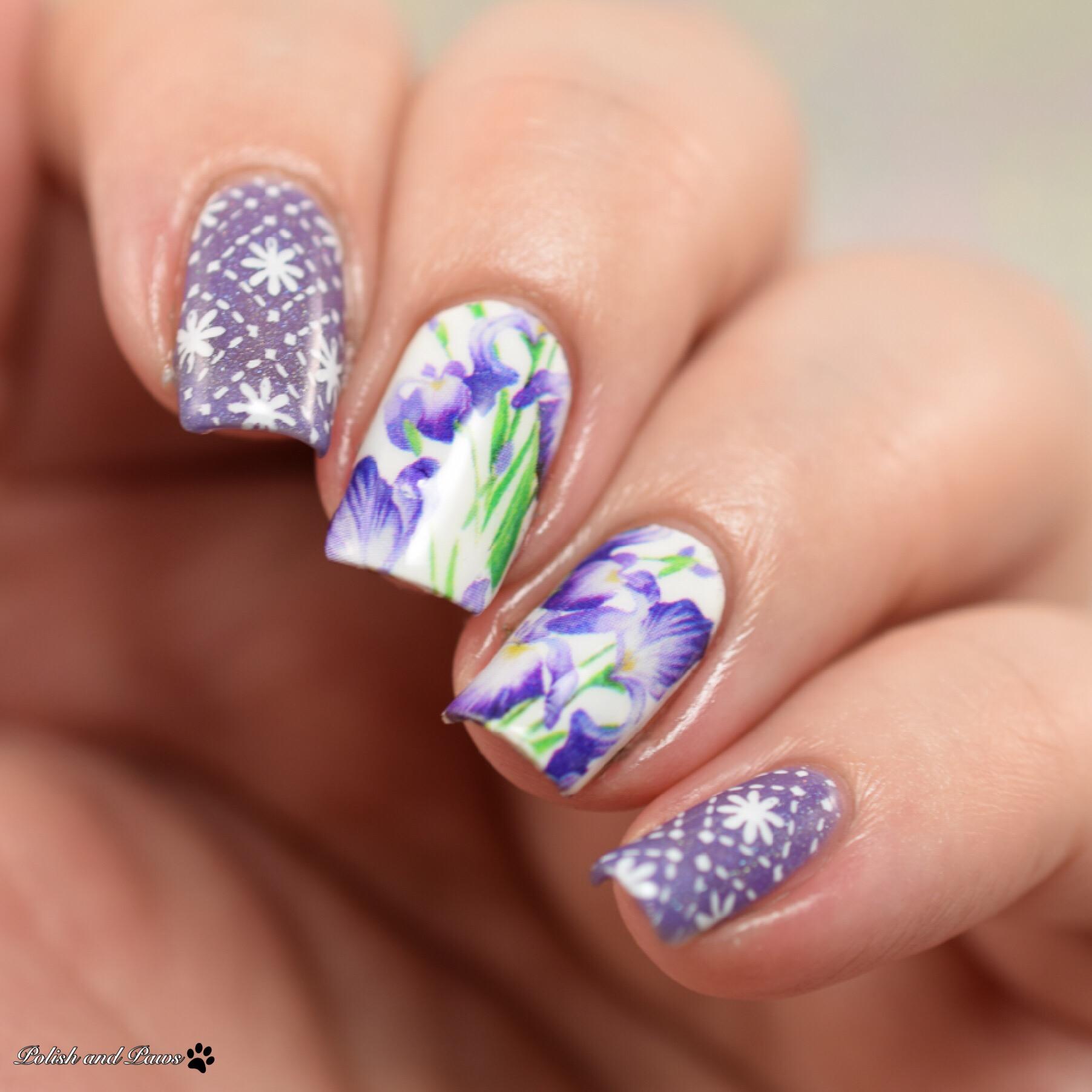 Milv Nail Art Purple Iris Water Decals (N 820)