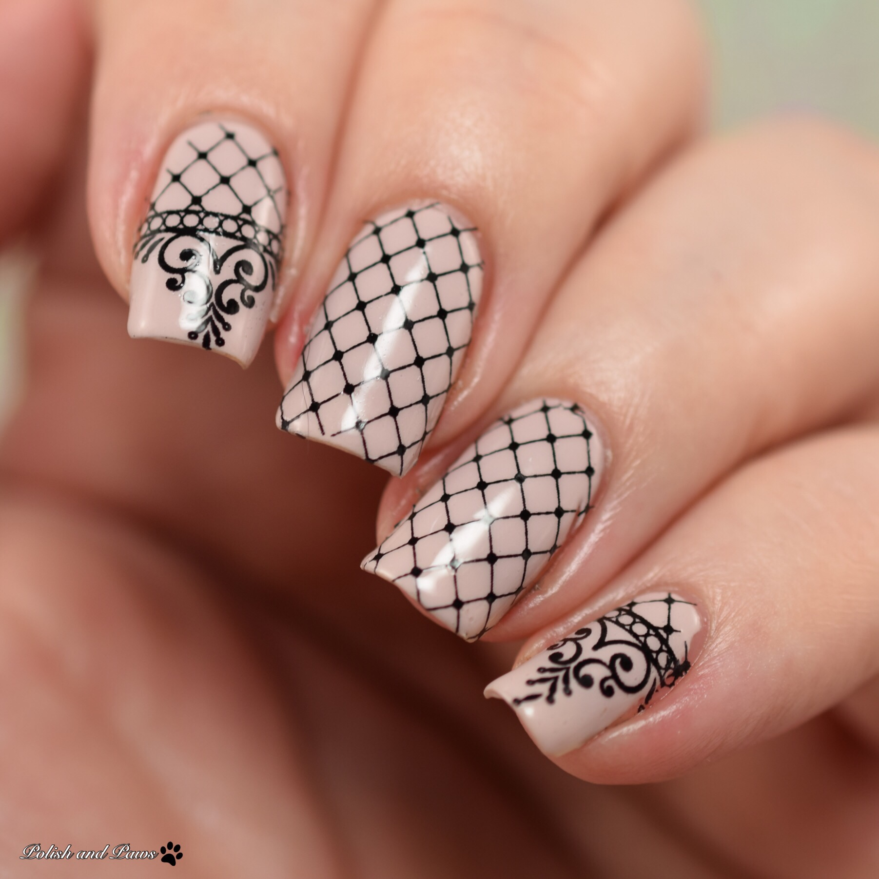 Milv Nail Art Black Lace Designs Water Decals (S 227)
