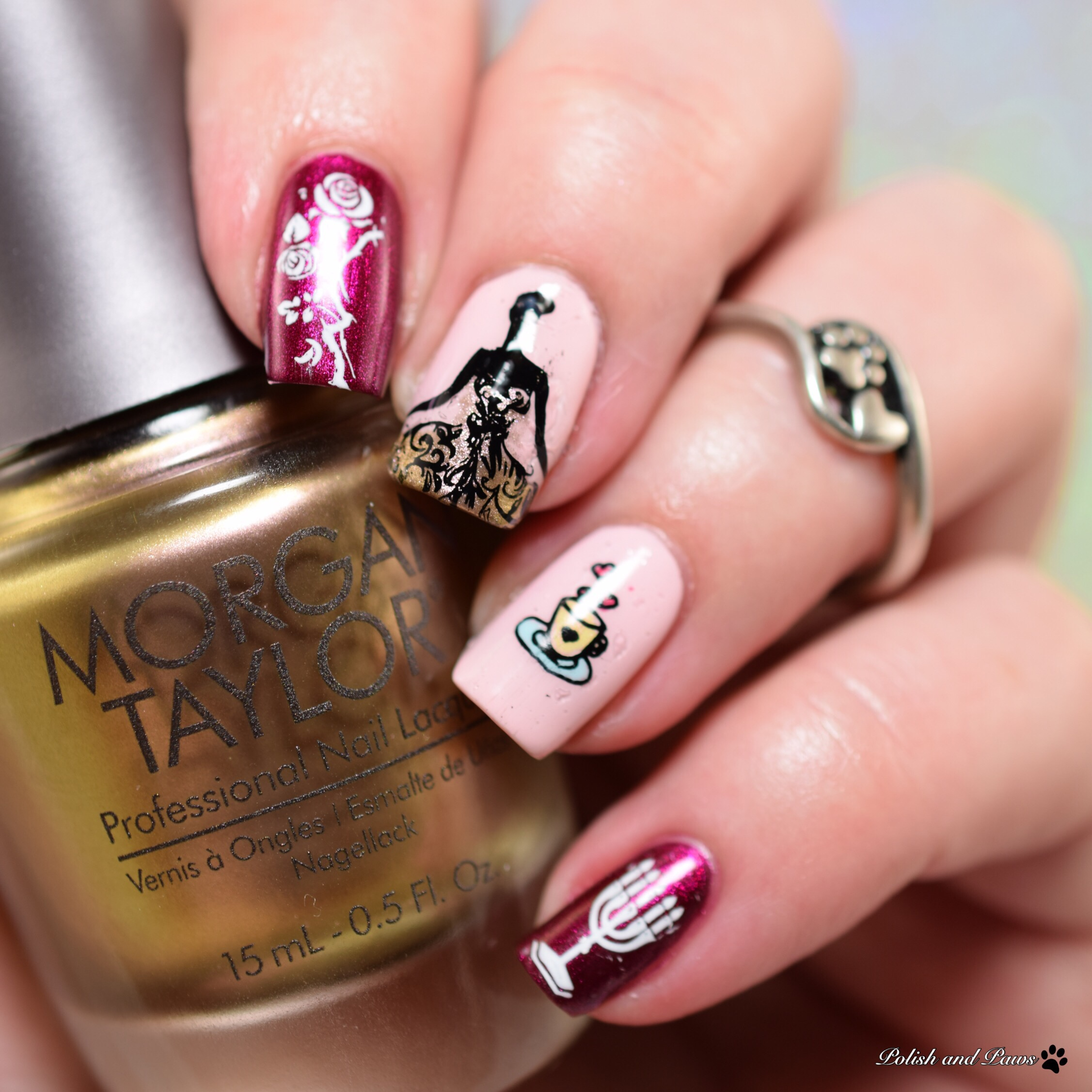 Morgan Taylor Beauty and the Beast inspired nail art