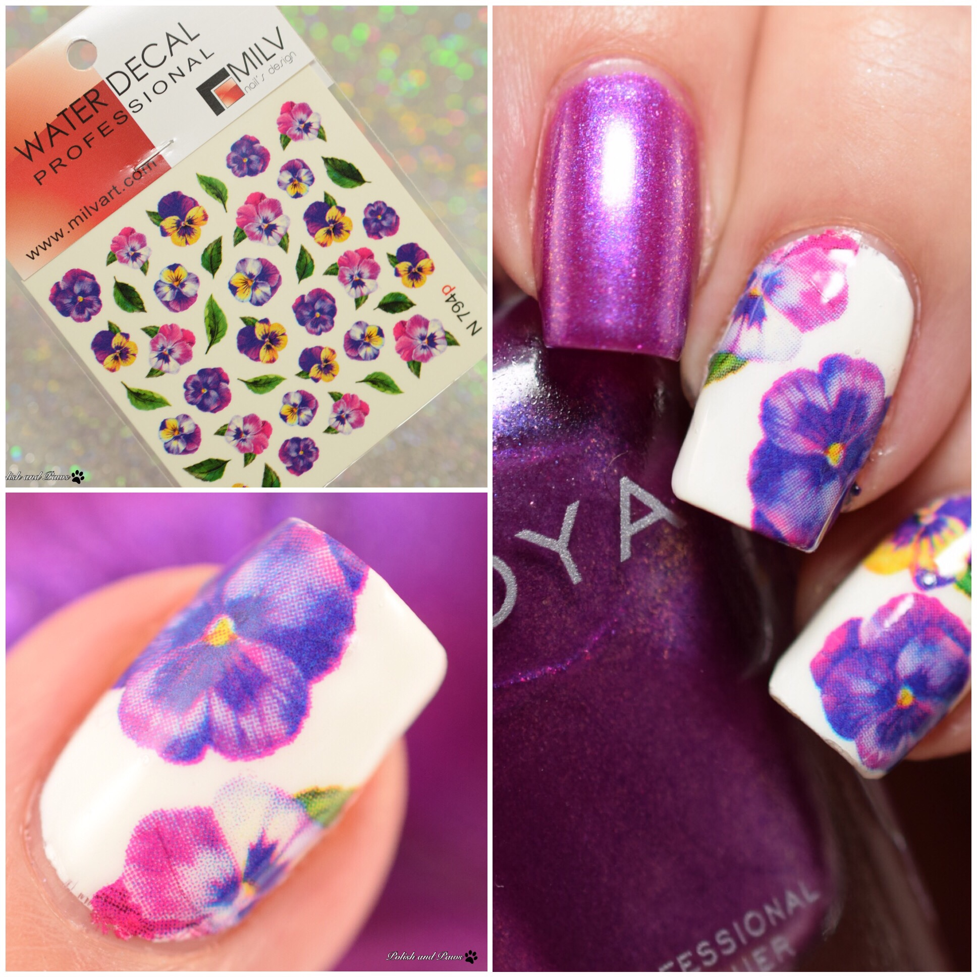 MILV Nail Art Violet Floral Decals N794