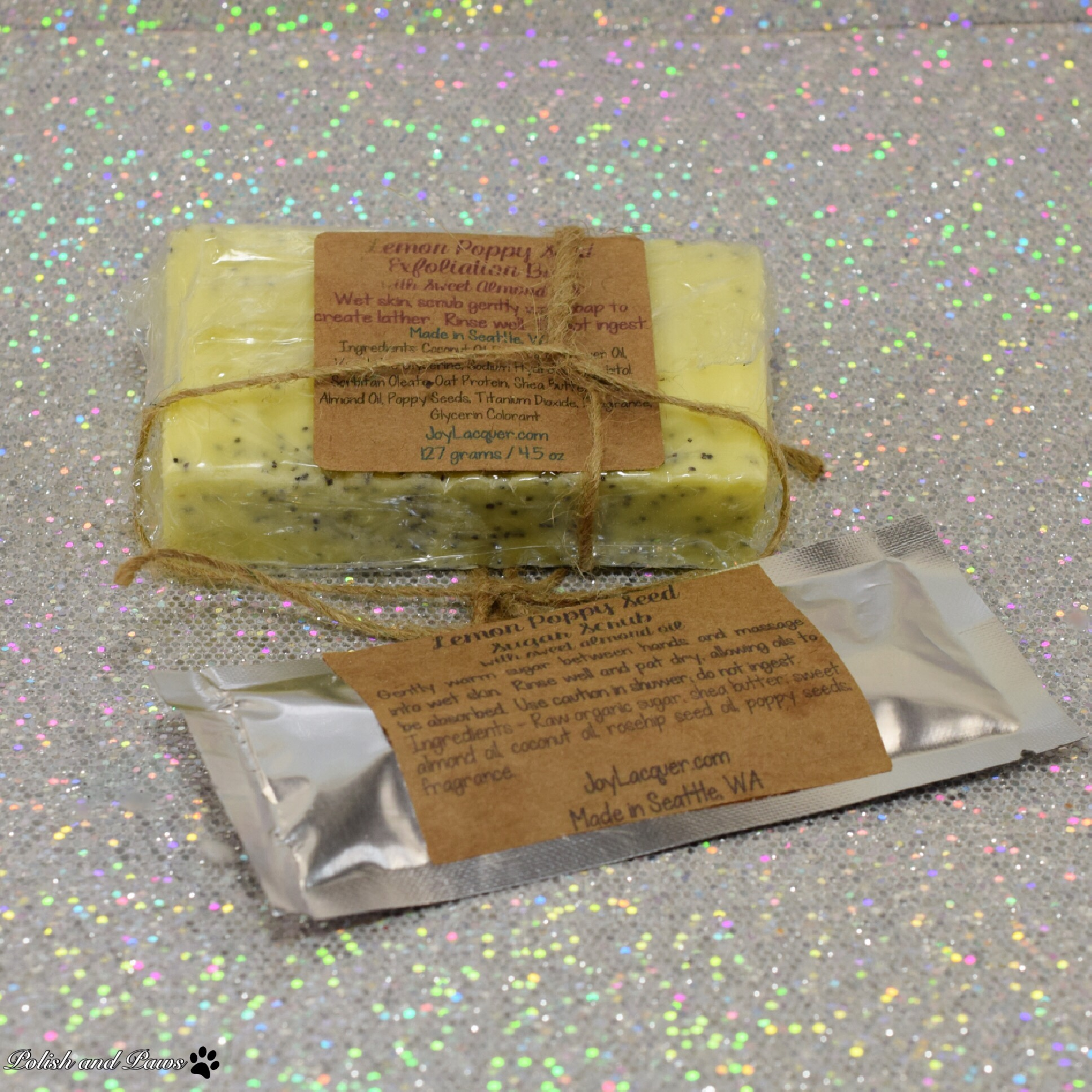 Joy Lacquer Lemon Poppy Exfoliating Bar and Sugar Scrub