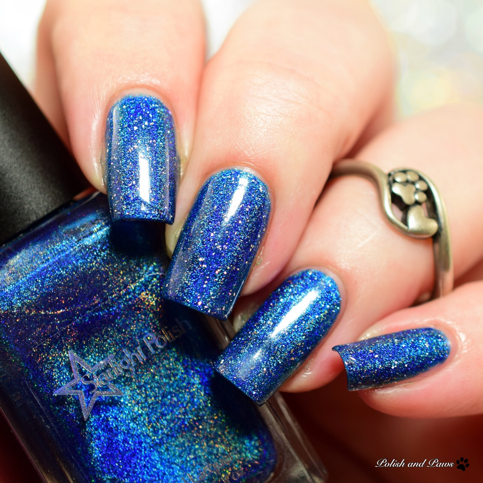 Starlight Polish Make it Sparkle layered over Winter Skies