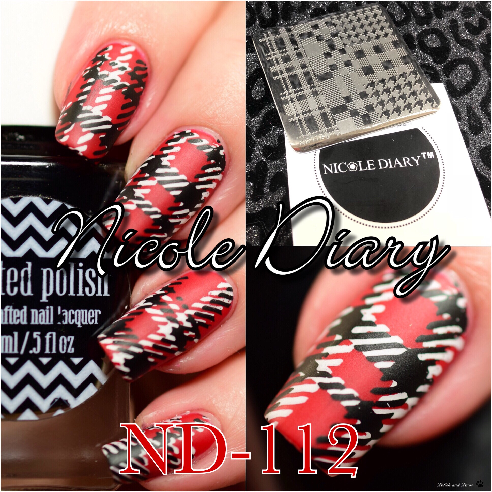 Nicole Diary Nd 112 Stamping Plate Nail Art Polish And Paws
