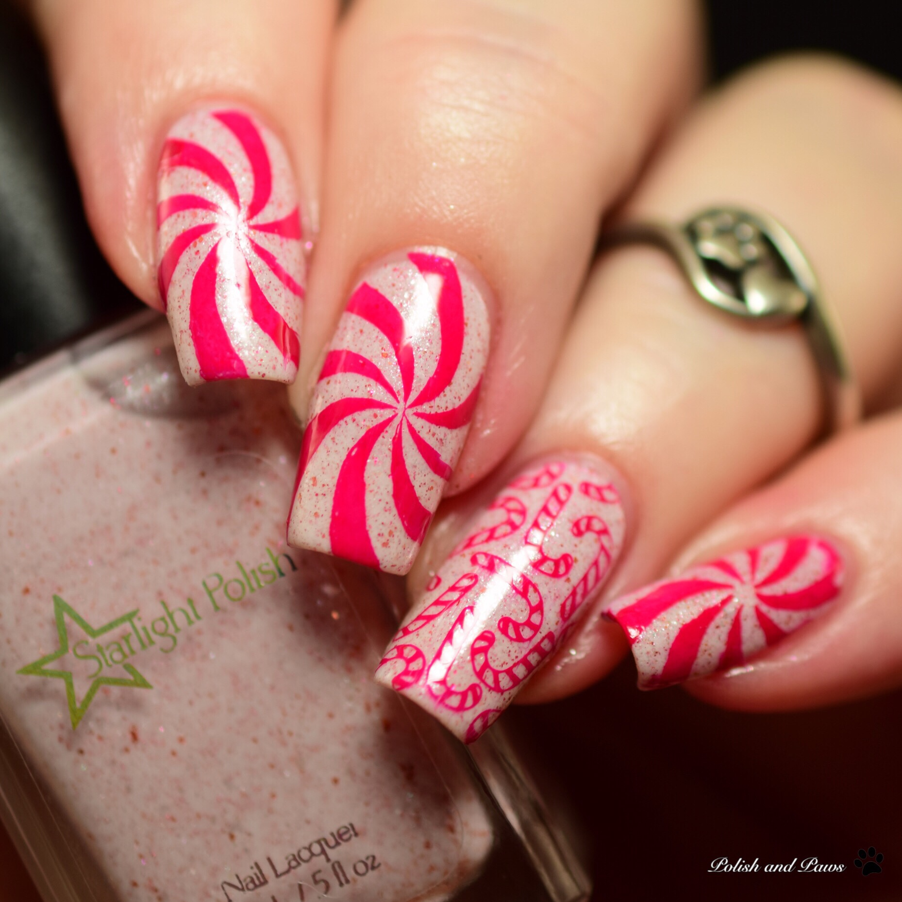 Starlight Polish Peppermints in the Parlor Nail Art