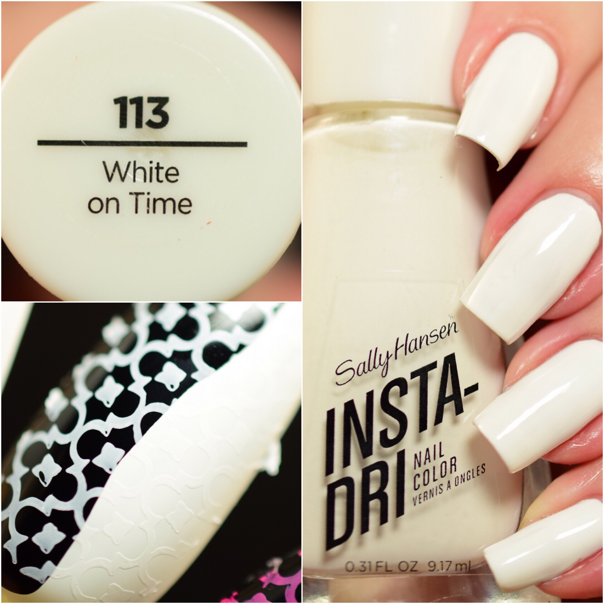 Sally Hansen Insta-Dri White on Time 113