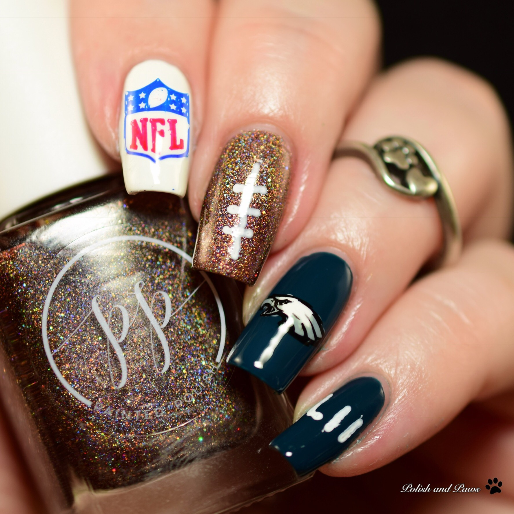 Super Bowl Nails Nail Art