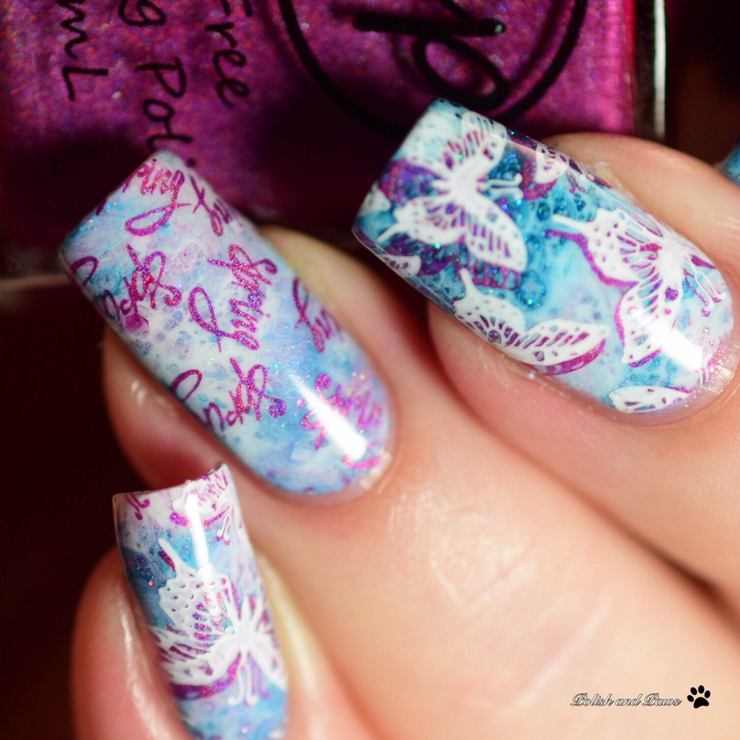Nail Art ~ Drip Marble and Butterflies