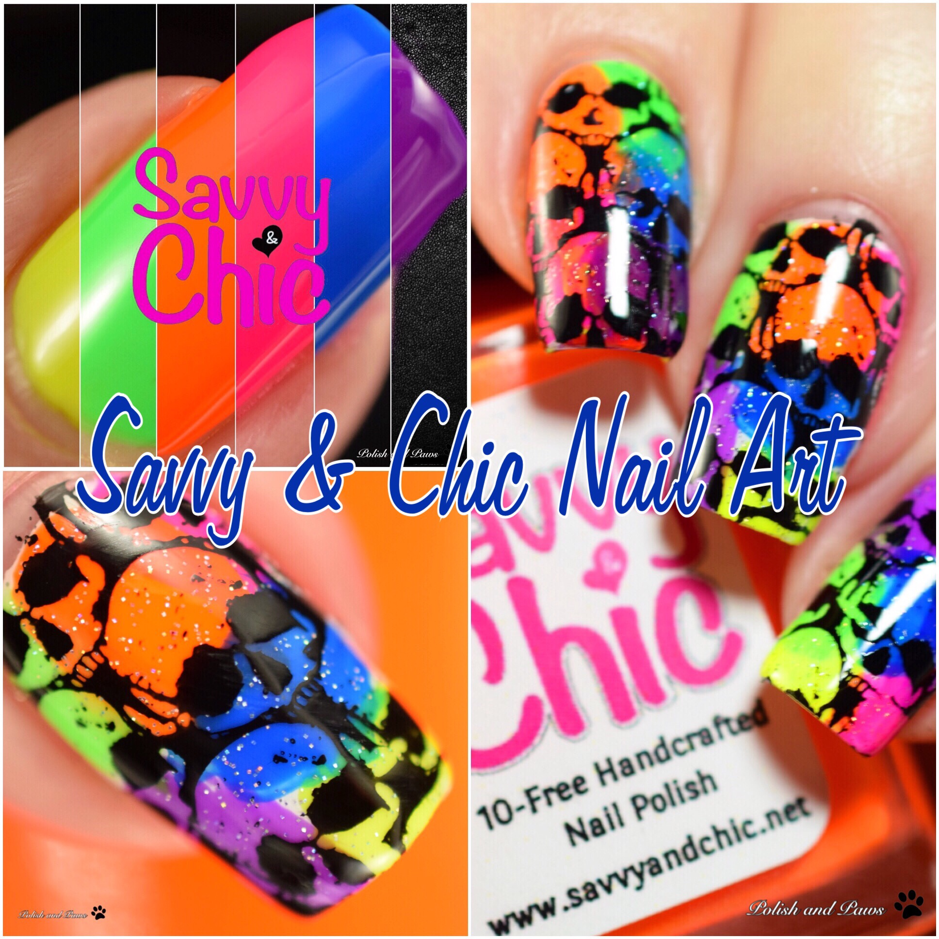 Neon Skulls Nail Art ~ Polish and Paws