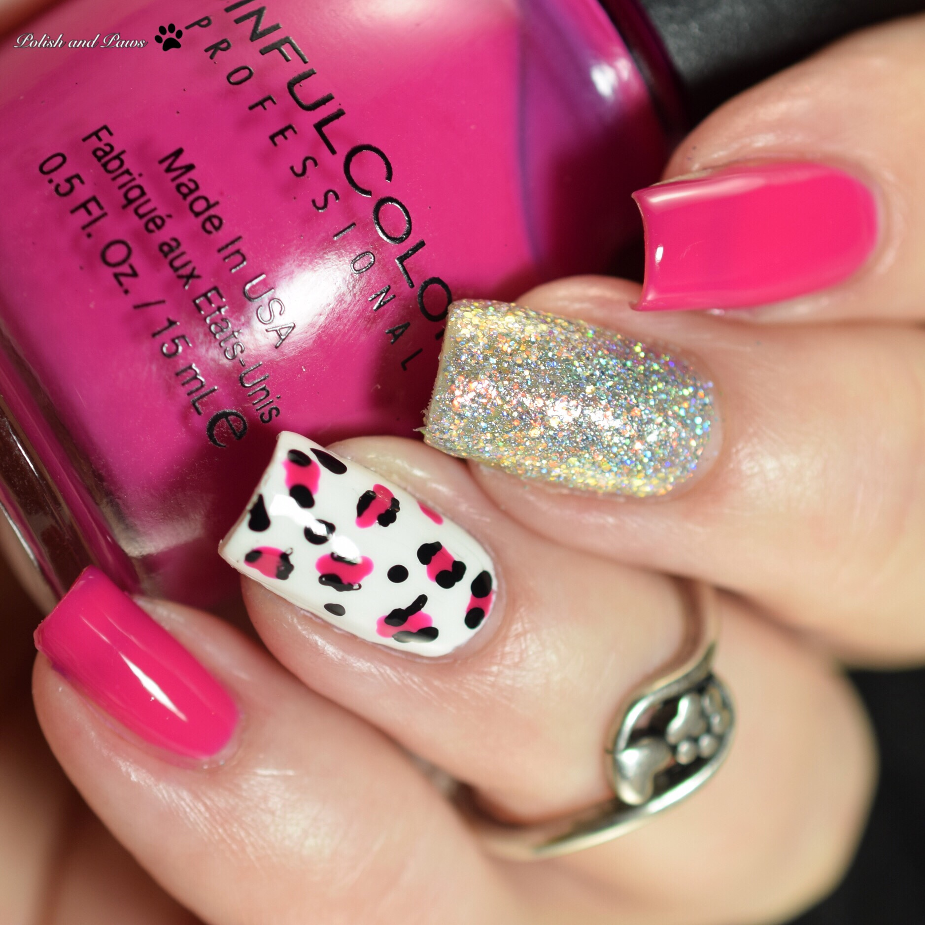 Polish and Paws Pink Leopard Mani