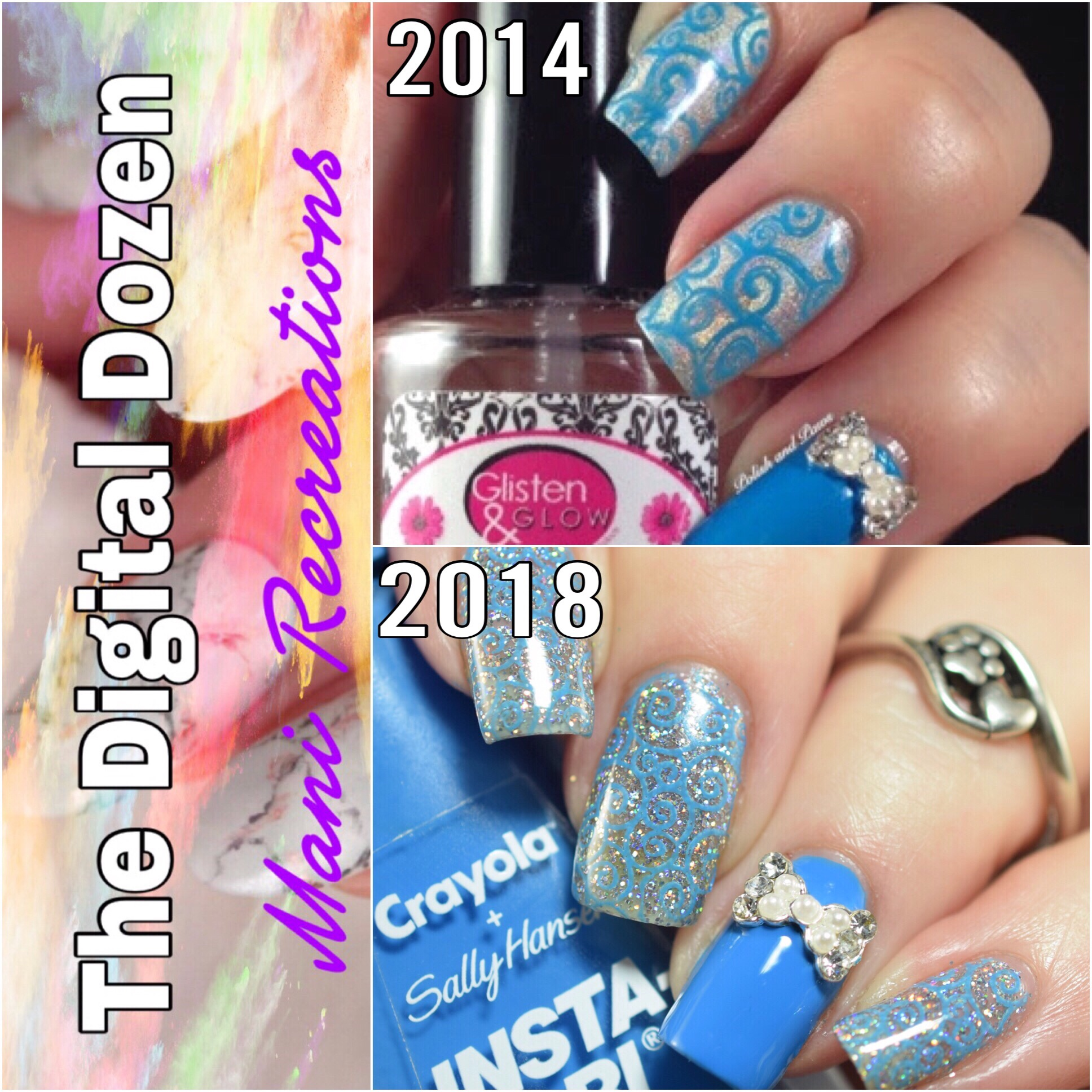 Digital Dozen Blue Bow Tie Nail Art
