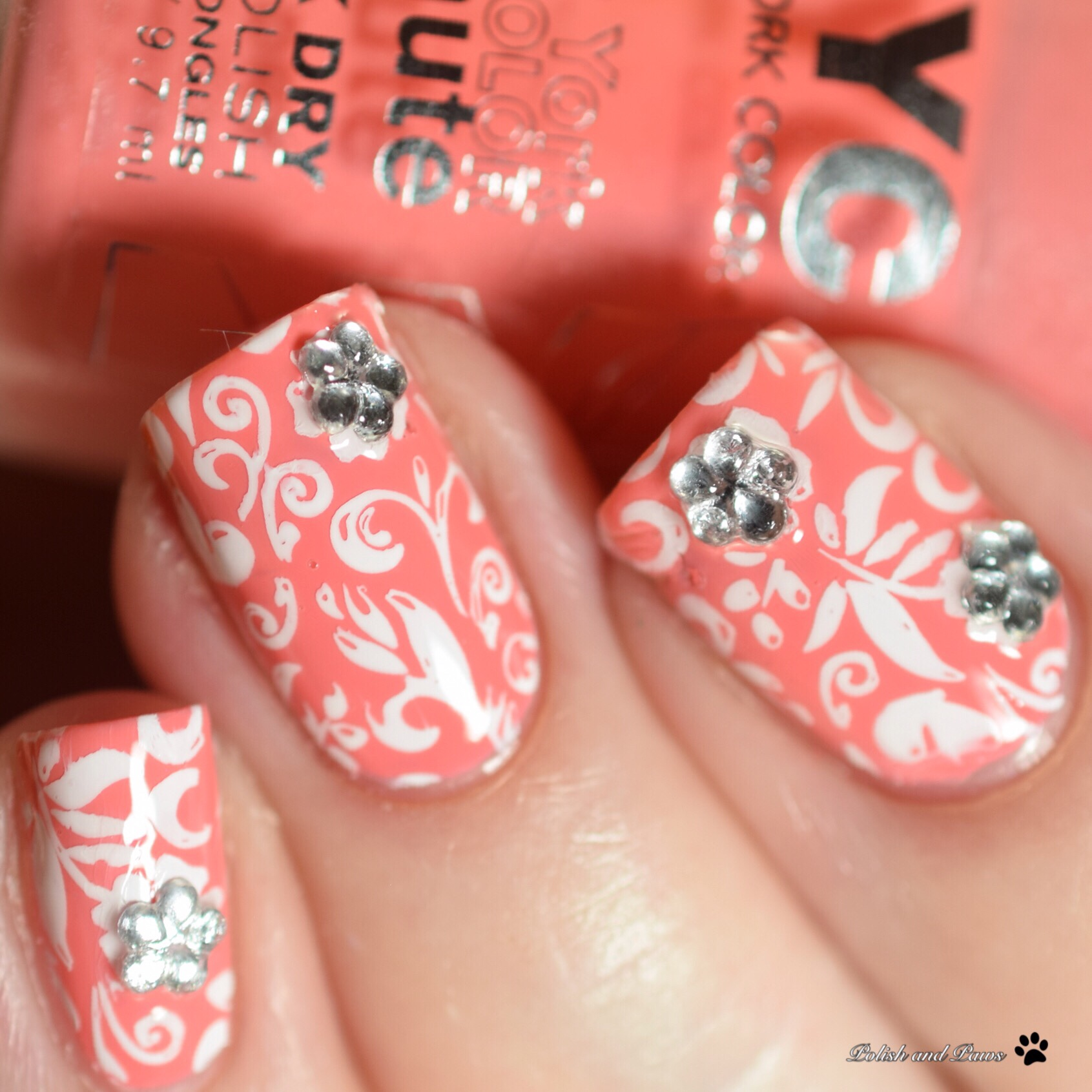 Polish and Paws Digital Dozen Nail Art Peach Flower Nails