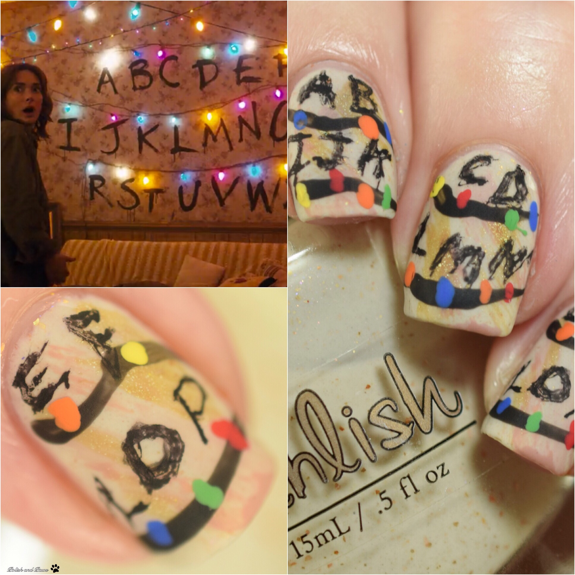 Polish and Paws Stranger Things inspired nails