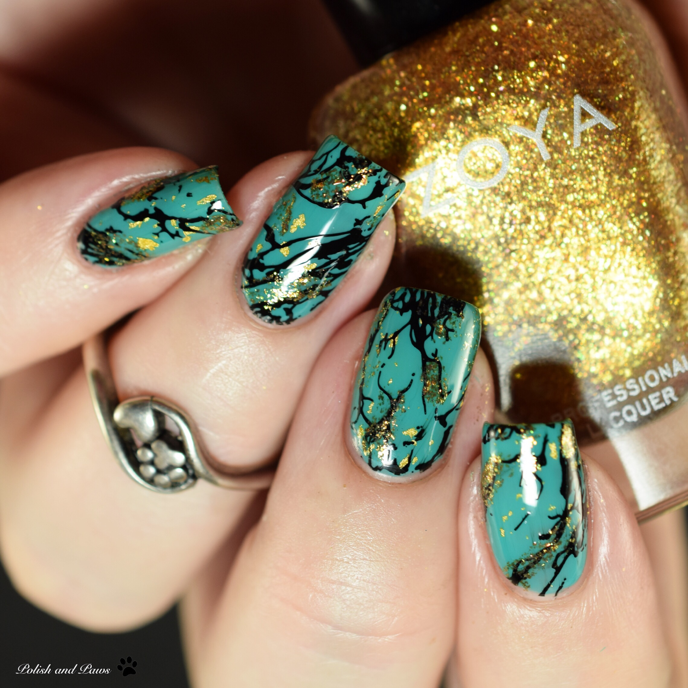 Turquoise Marble Nails