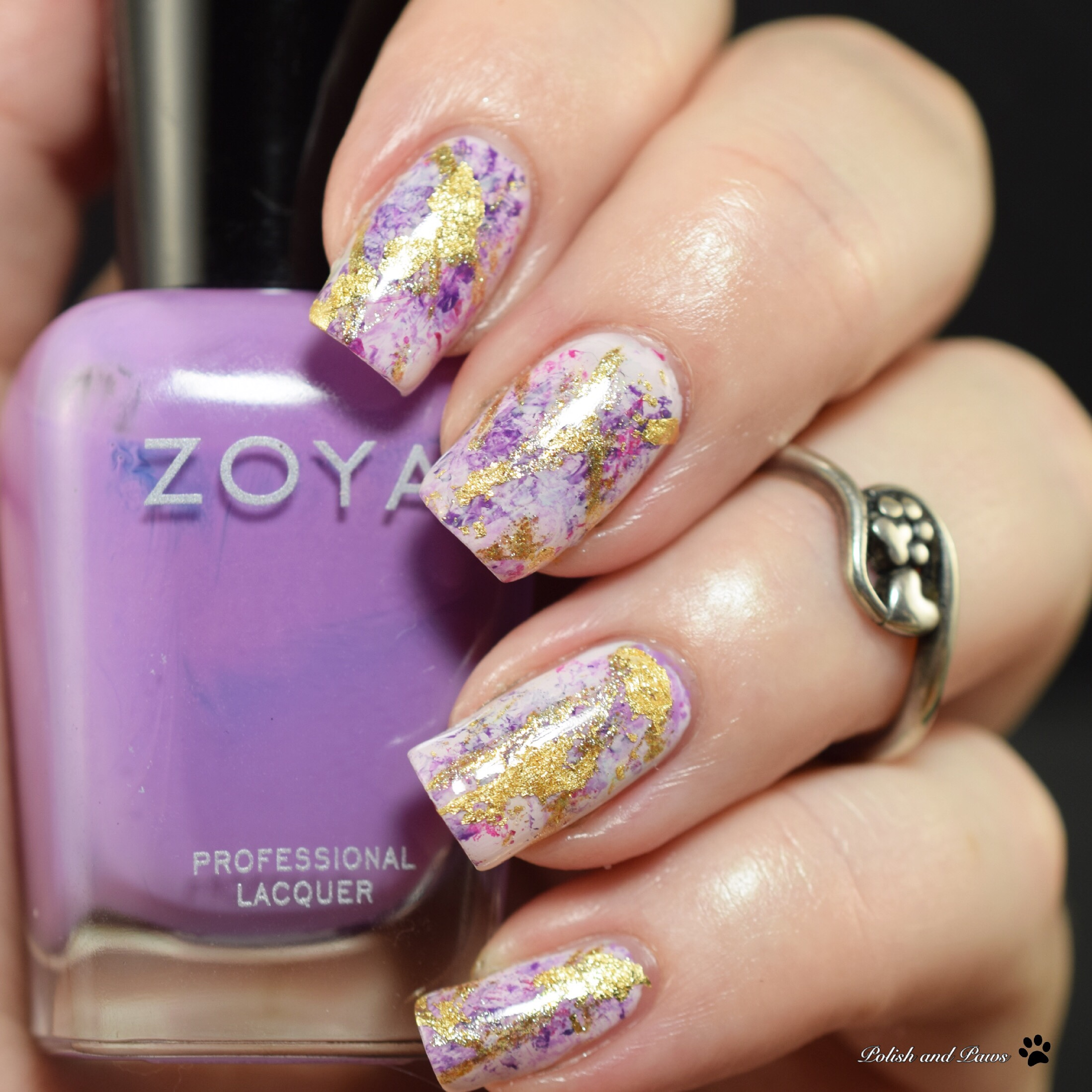Purple & Gold Marble Nails