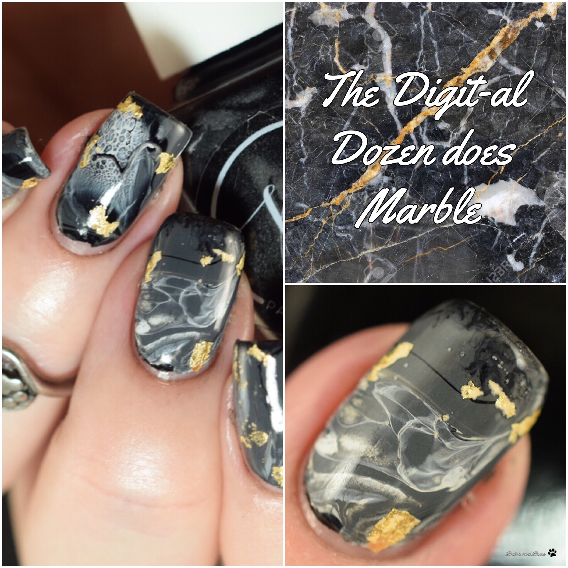 Black Marble Nails