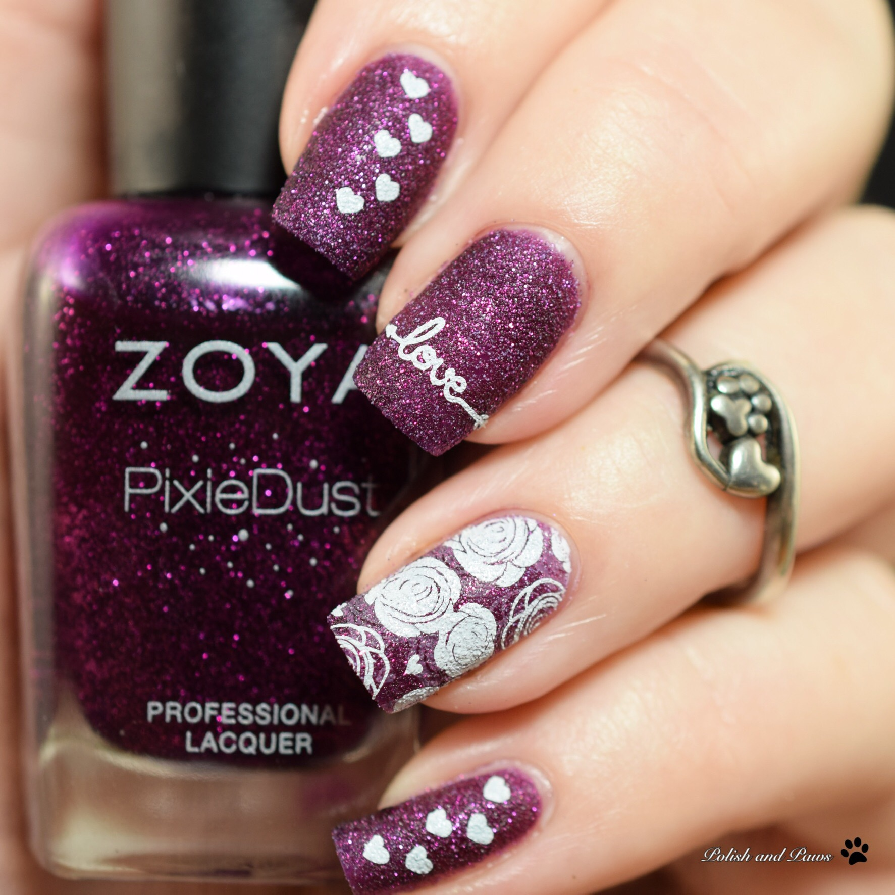 Digit-al Dozen Polish and Paws Textured Valentine's Day Nails