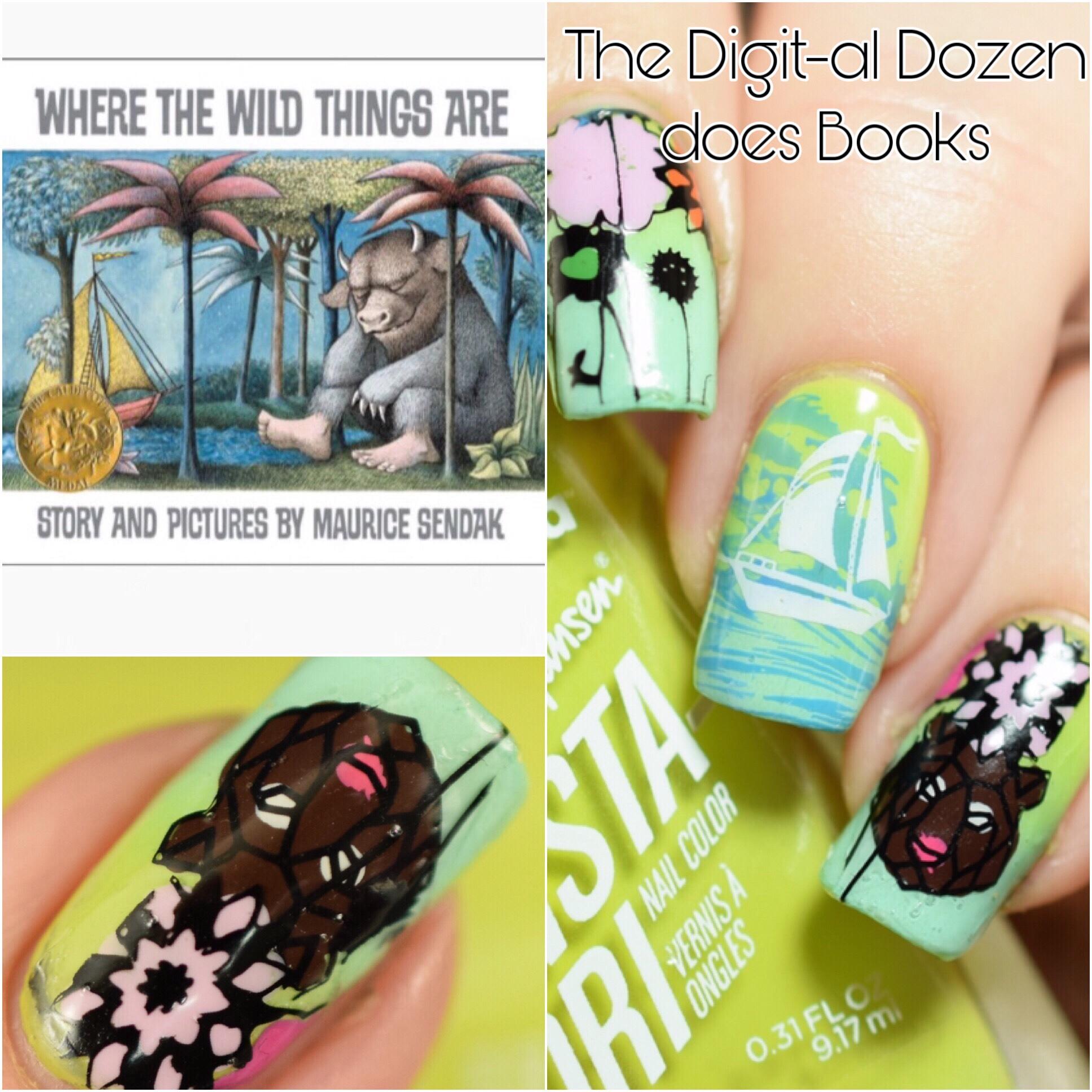 PolishandPaws Digital Dozen Where the Wild Things Are book mani