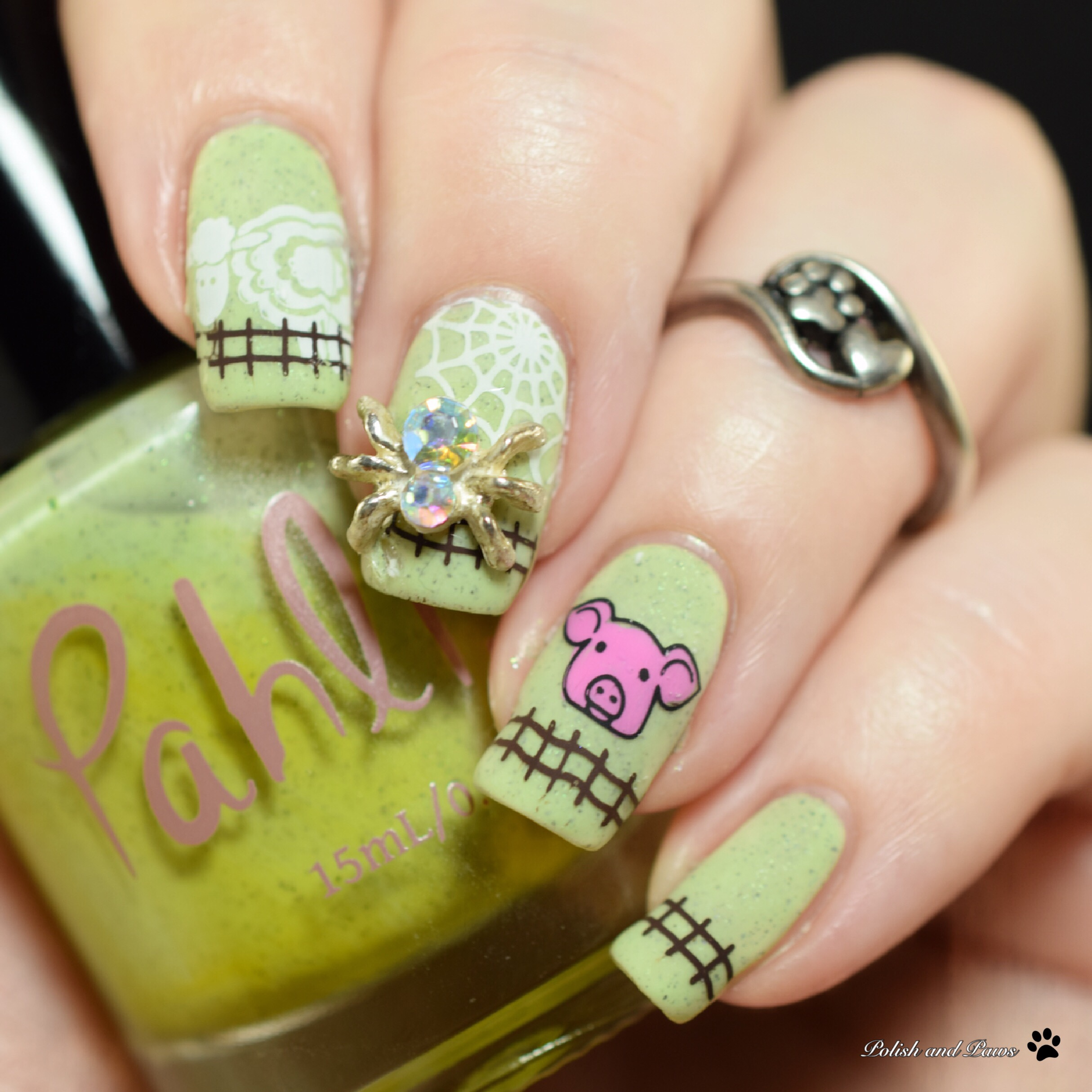 PolishandPaws Digital Dozen Charlottes Web Book Nails